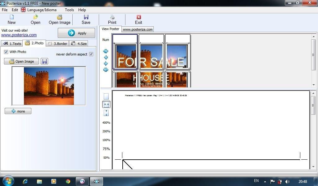 910 Posteriza โปรแกรมพิมพ์ภาพใหญ่กว่า A4 ให้เป็นแผ่นโปสเตอร์