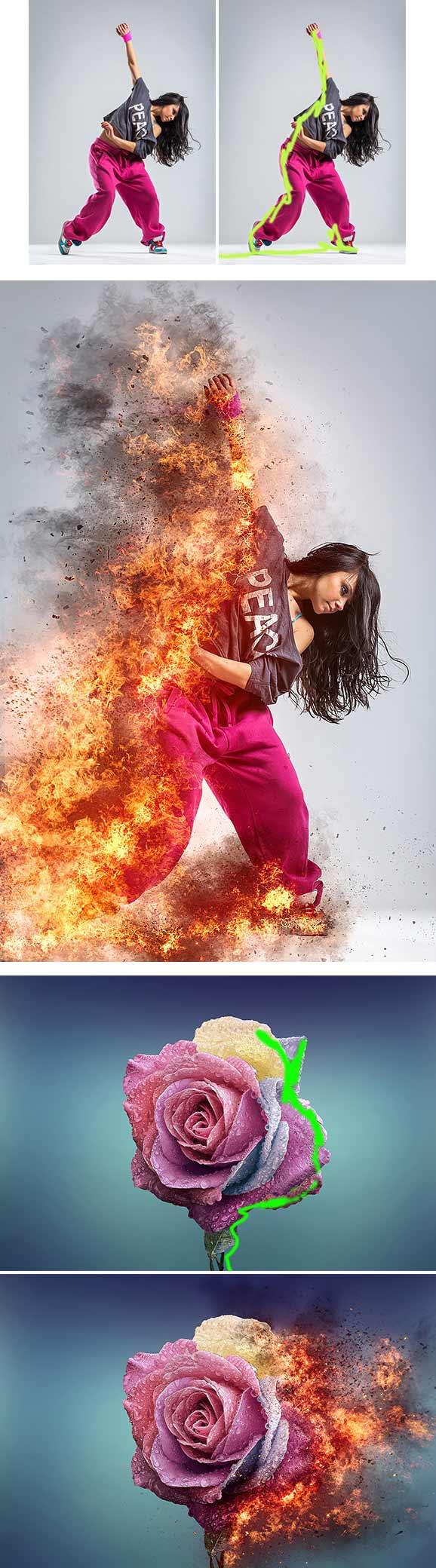 3377 firestorm photoshop action โปรแกรมทำเปลวไฟออกจากรูป