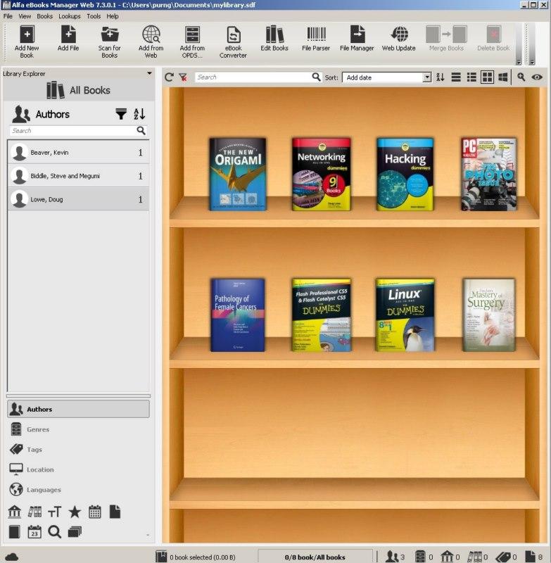 4546 Alfa eBooks Manager 7.3.0.1 เก็บ Ebook ในเครื่องแบบ GUI
