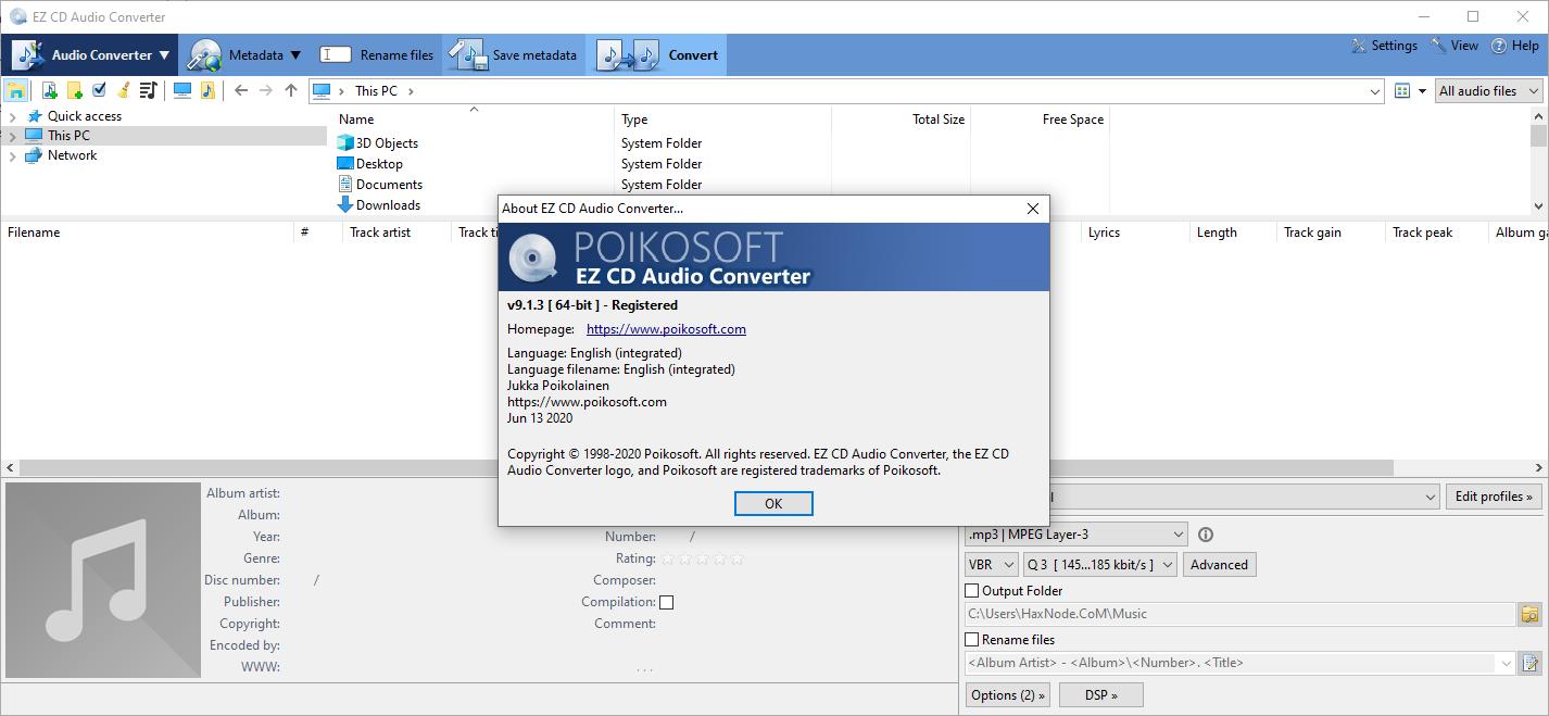 6110 EZ CD Audio Converter 9.1.3.1 Patched แปลงและแก้ไขข้อมูลไฟล์เพลง