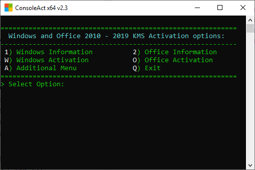 4896 ConsoleAct v2.3 Portable Activate Windows XP-10 และ Office 2010 - 2019